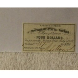 Confederate $100 Bond $4 Coupon Note Currency