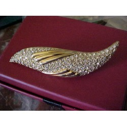 "Vintage/Retro  2-3/4"" Long  Rhinestone Brooch ~ Signed"