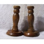 A Pair Vintage Wood Candle Holders