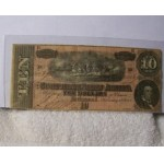 Confederate $10 Note Currency 1864