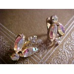 KEYES Signed Vintage Glass Rhinestone Clip Earrings