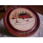 FOLKART Wood Plate Country CHRISTMAS. 1989 Artist Signed