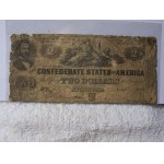 Authentic Confederate $2 Note Currency 1862