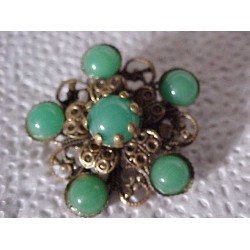 OLD Brass Filigree and Green Cabochon Brooch/Pin