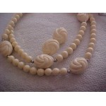Demi Necklace & Matching Post Earrings Creamy White Retro