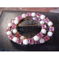 Pink Rhinestone & Milk Glass Double Ring Brooch Vintage/Old