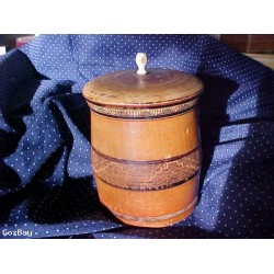 OLD TREENWARE Covered Decorated Wood Barrel Box