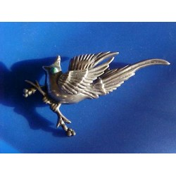 STERLING Silver MEXICO Vintage Turqoise Eye Bird ~ 3 Dimensional Wings