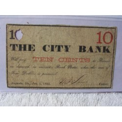 Confederate The City Bank 10 Cents Currency 1862