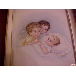Vintage Gorgeous Framed Print Angels Are Watching over Baby