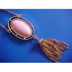 "Vintage Large Pink Pendant Long 24"" Golden Chain Signed Sar Cov"