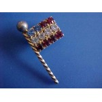 Retro Rhinestone Flag Pin Red White & Blue Vintage/Retro