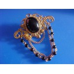 Black Cab Center Pin Brooch with beaded chain dangle