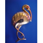 Crane Bird Pin ~ Red Eyed ~ Sleek Goldtone ~ Vintage/Retro