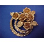 CORO Signed Double Halo and Roses Brooch Vintage