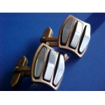 CUFFLINKS ~ 1950-60's Faux Hematite Raised Stone Slice 3 Sections