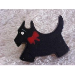 ~ SALE  ~  Vintage Scotty Dog Pin with Red Ribbon