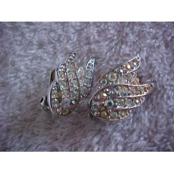 Vintage ~ Signed Sarah Cov. Colorful Sparkling Wings Clip-on Earrings