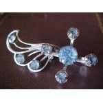 Vintage ~ Light Blue Glass Rhinestone Deco Type Swirl Pin