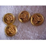 "Vintage Old 1"" Goldtone 4 Hard Plastic Daisy Buttons"