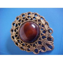 Vintage Scarf Clip With Cloudy Brown Cabochon LOOKS GOOD