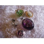 CHARMS ~  Tiny Cameo, 2 Caged crystals, Carved Amethyst & Tiny Flower