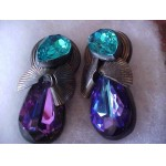 HUMONGOUS - BOLD - COLORFUL GLASS - Retro Clip on Earrings WOWIE!