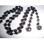 Vintage Black Glass Bead Open End Necklace & Black Rhinestone Ball Ends SALE $2.99