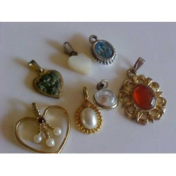 Vintage LOT of 7 Small Pendants Various Age, Shapes & Sizes ~ Mustard seed, hearts etc...