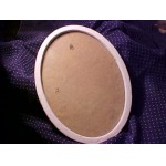 Small Old/Deco Tin OVAL FRAME Shabby Chic Painted White w/glass  SALE .99¢
