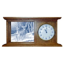 After the Season Deer Art Etched Mirror Mantle Clock