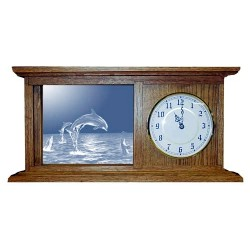 Dolphin Art Etched Mirror Mantle Clock