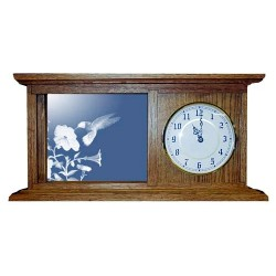 Hummingbird Art Etched Mirror Mantle Clock