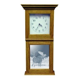Beaver Pond Moose Art Etched Mirror Wall or Mantle Clock