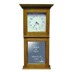 Personalized Art Etched Mirror Wall or Mantle Clock