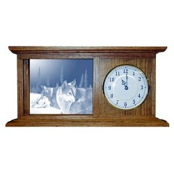 Blue Morning Trackers Wolf Art Etched Mirror Mantle Clock