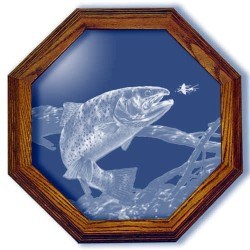 Swim Meet Trout Fishing Art Etched Octagon Mirrors