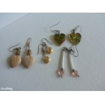 (4) Different Pair Pierced Dangle HEART Earrings Retro