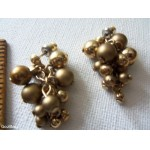 Vintage / Retro GOLDEN GRAPE CLUSTER Dangle Pierced Post Earrings
