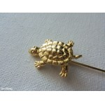 Vintage Retro Golden Turtle Stick Pin