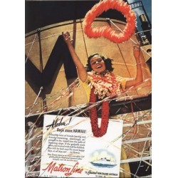 1941 MATSON Cruise Ship Print AD Hawaii Leis Edward Steichen Photo 1940s