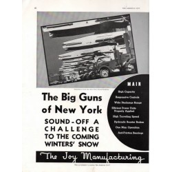 "The Joy Manufacturing Company 1937 Print AD ""Big Guns of New York"" 1930s"
