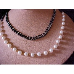 Long Silver/Black Cut Chain and Faux Pearl Necklace